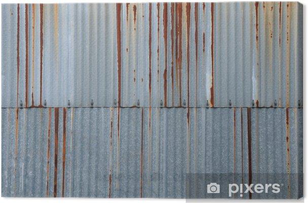 Cuadro en Lienzo Textura de metal, chapa ondulada oxidada - Texturas