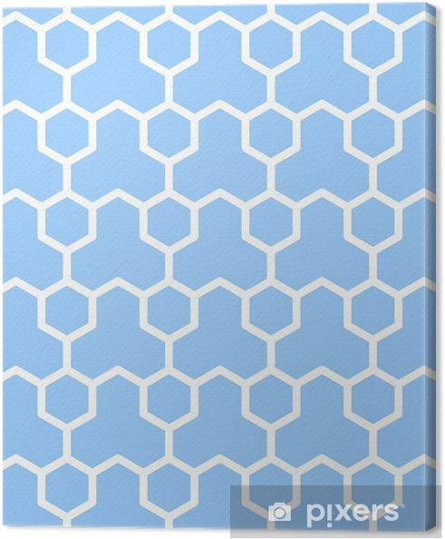 Cuadro en Lienzo Textura geométrico transparente. patrón de hexágonos azul. - Fondos