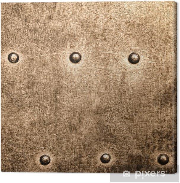 Cuadro en Lienzo Textura tornillos remaches Grunge placa de oro marrón de metal de fondo - Texturas