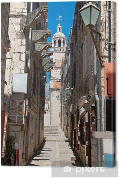 Cuadro en Lienzo Típica calle estrecha en ciudad medieval de Korcula por día suny - Europa