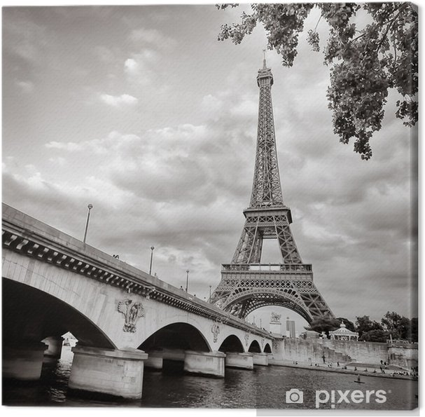 Cuadro en Lienzo Torre Eiffel vista desde el río Sena formato cuadrado - Temas