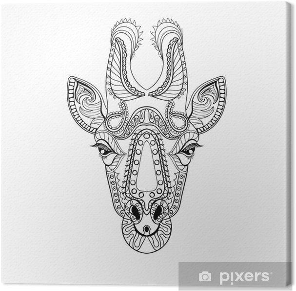 Cuadro en Lienzo Tótem de la cabeza de Zentangle de la jirafa por un ...