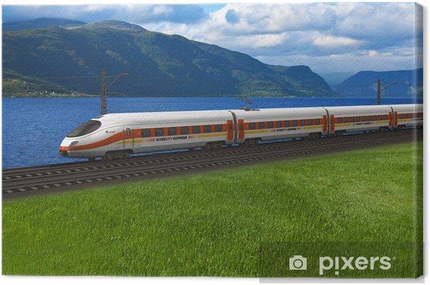 Cuadro en Lienzo Tren de alta velocidad que pasa por las montañas y flords - Temas