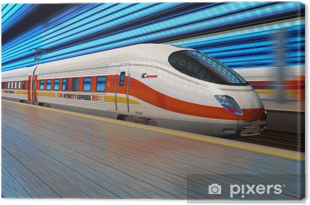 Cuadro en Lienzo Tren de alta velocidad sale de la estación de tren con el desenfoque de movimiento - Temas