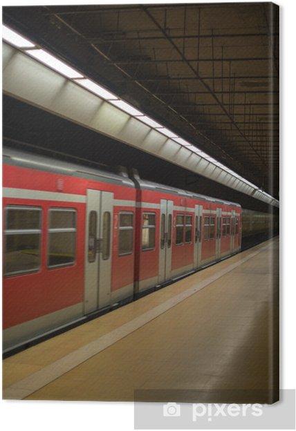 Cuadro en Lienzo Tren de metro en la plataforma - Temas