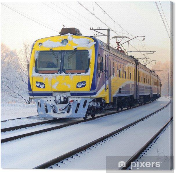 Cuadro en Lienzo Tren en invierno - Temas