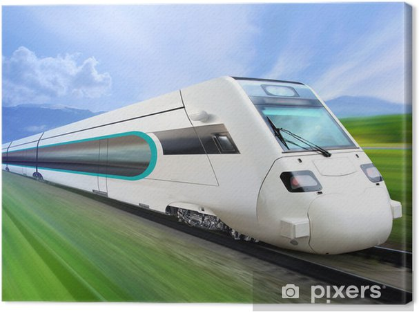 Cuadro en Lienzo Tren súper eficiente en carril - Temas