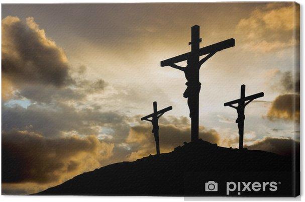 Cuadro en Lienzo Tres cruces en la puesta del sol - Pascua