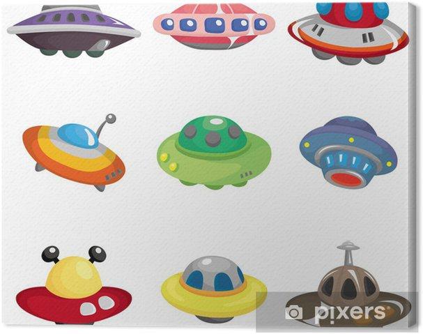 Cuadro En Lienzo Ufo Nave Espacial Dibujos Animados Icon Set