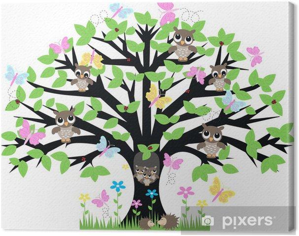 Cuadro en Lienzo Un árbol lleno de animales - Temas
