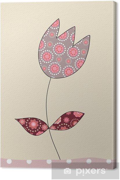 Cuadro en Lienzo Un precioso tulipán en el fondo de color beige, ilustración - Celebraciones