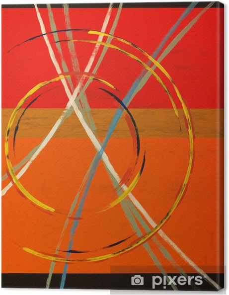 Cuadro en Lienzo Una pintura abstracta con arcos, círculos y rayas - Estilos