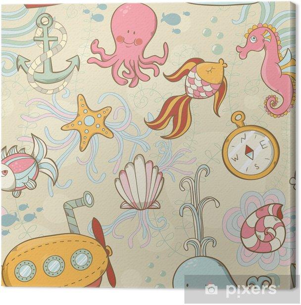 Cuadro en Lienzo Underwater creatures patrón lindo de la historieta sin fisuras - Oceanía