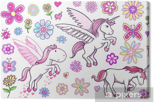 Cuadro en Lienzo Unicorn Pegasus Fairytale Spring Set Vector - Temas