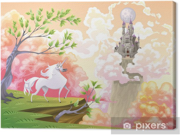Cuadro en Lienzo Unicornio y paisaje mitológico. Ilustración vectorial - Temas