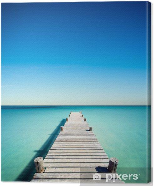Cuadro en Lienzo Vacances plage ponton bois -