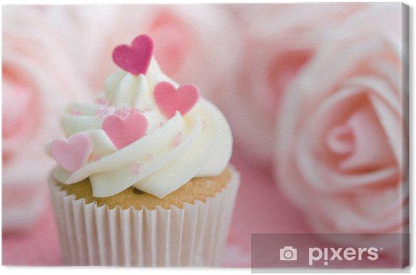 Cuadro en Lienzo Valentine cupcake - Caramelos y muffins