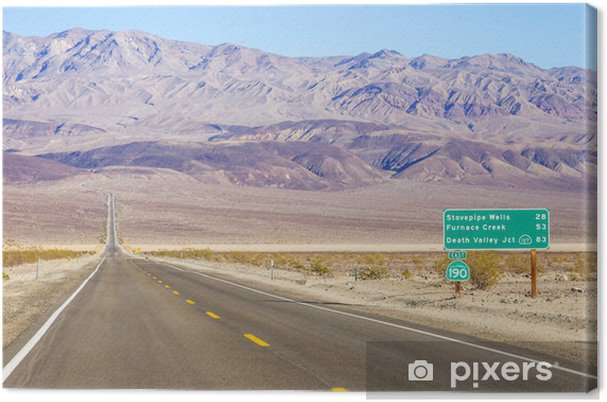 Cuadro en Lienzo Valle de la Muerte paisaje y señal de tráfico, California - Temas