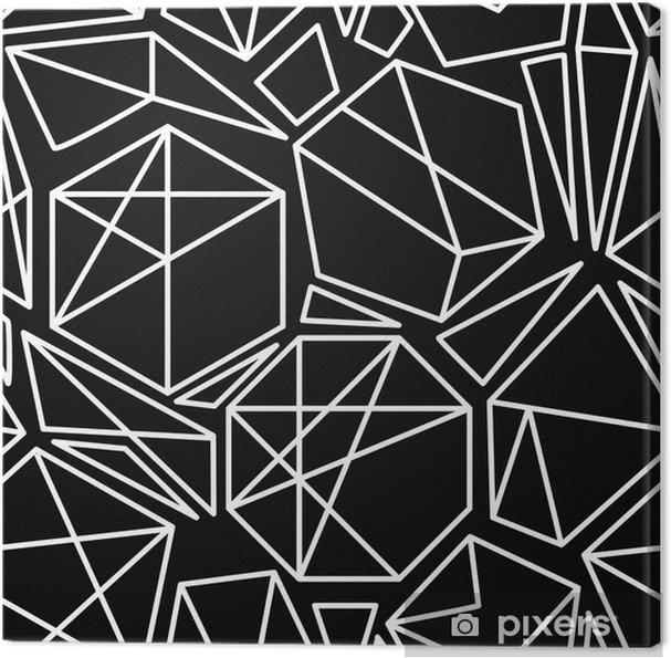 Cuadro en Lienzo Vector blanco y negro sin fisuras patrón geométrico - Recursos gráficos
