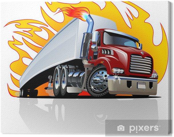 Cuadro En Lienzo Vector De Dibujos Animados De Camiones Semi Con Un Solo Clic Pintar