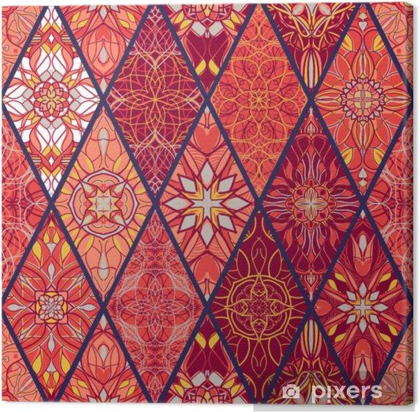 Cuadro en Lienzo Vector de textura sin fisuras. hermoso patrón de patchwork mega para el diseño y la moda con elementos decorativos - Recursos gráficos