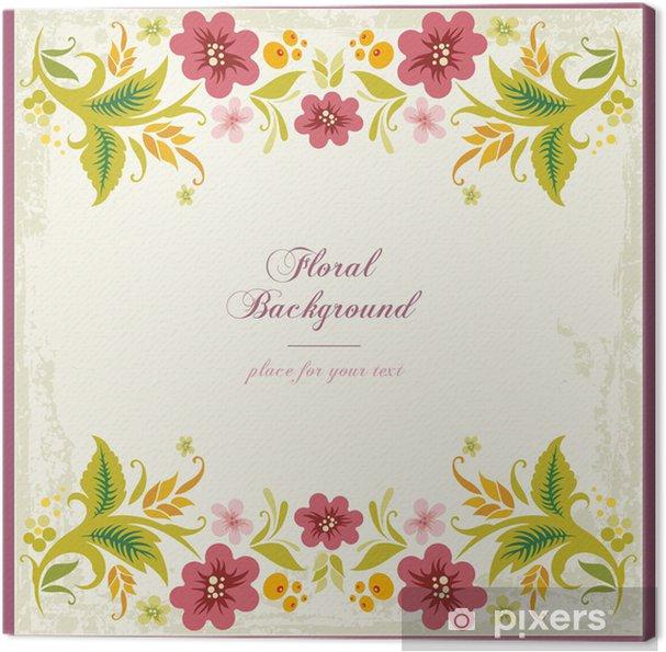 Cuadro en Lienzo Vector Fondo floral ornamental en estilo de la vendimia - Flores