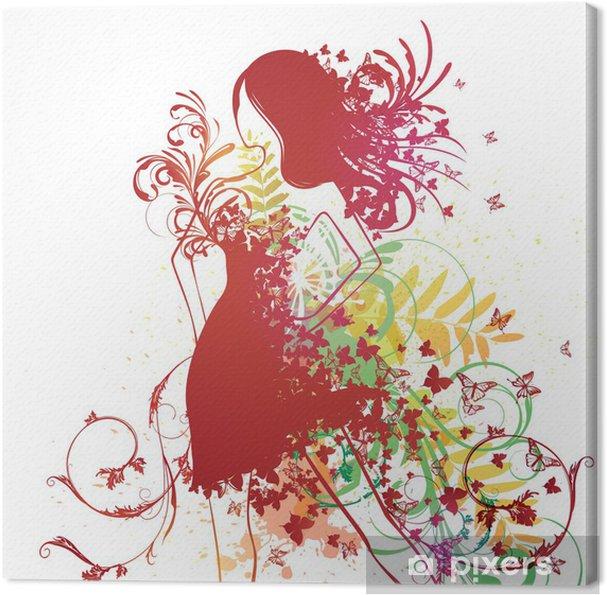 Cuadro en Lienzo Vector Mujer con vestido de mariposa • Pixers ... 636819ebcde