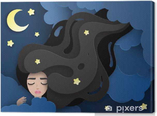 689d19c09953 Cuadro en Lienzo Vector retrato de mujer hermosa joven durmiendo con el  pelo largo y ondulado. Nubes de papel esponjoso, luna y estrellas. concepto  de ...