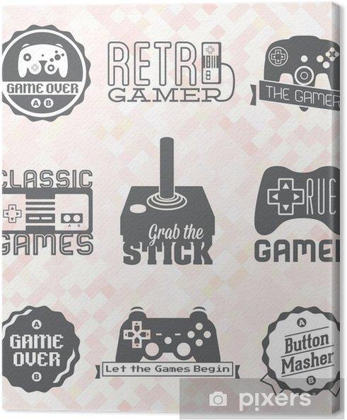 Cuadro en Lienzo Vector Set: Retro etiquetas videojuegos e iconos - Juegos