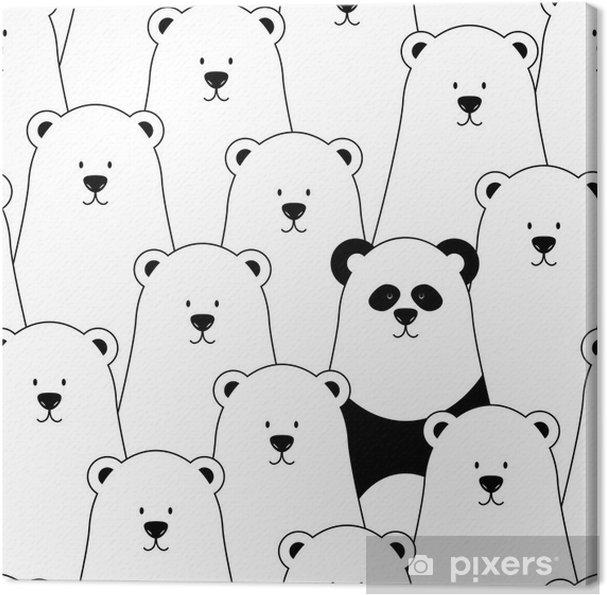 Cuadro en Lienzo Vector sin patrón con los osos polares blancos y Panda - Para dormitorio de niño