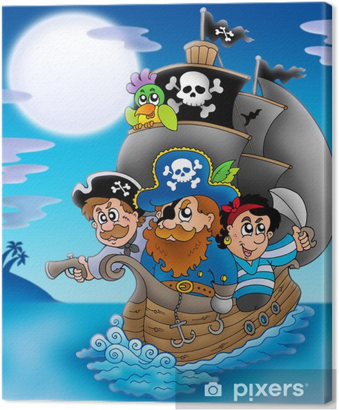 Cuadro en Lienzo Velero con piratas de dibujos animados en la noche -
