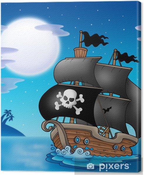 Cuadro en Lienzo Velero de pirata con Luna - Destinos