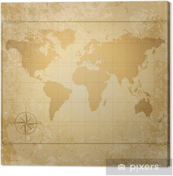 Cuadro en Lienzo Vendimia vector mapa del mundo con brújula - Temas