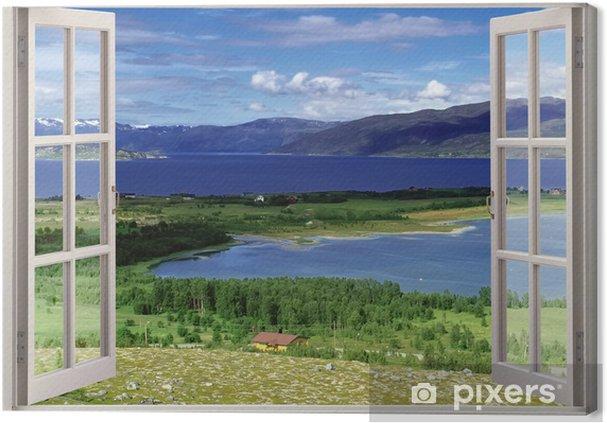 Cuadro en Lienzo Ventana de vista abierta al paisaje con ríos, colinas y campos - Temas