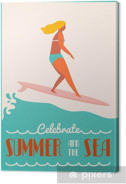 Cuadro en Lienzo Verano del cartel de texto cita con la chica surfista en un longboard monta una onda. Cartel de la playa del estilo de vida en estilo retro. - Deportes