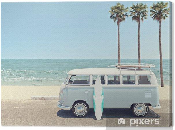 Cuadro en Lienzo Verano retro en la playa. Representación 3D - Hobbies y entretenimiento
