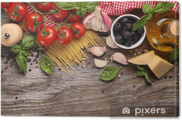 Cuadro en Lienzo Verduras, hierbas y especias para la comida italiana - Temas