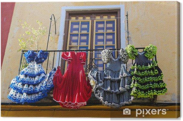 Cuadro en Lienzo Vestidos de colores de flamenco en España - Ciudades europeas