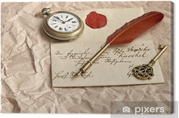 Cuadro en Lienzo Vieja carta con sello de cera - Texturas