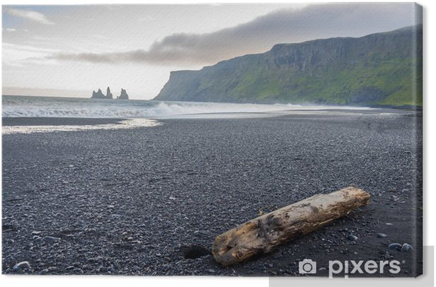 Cuadro en Lienzo Vik, Islandia - Playa de arena. - Agua