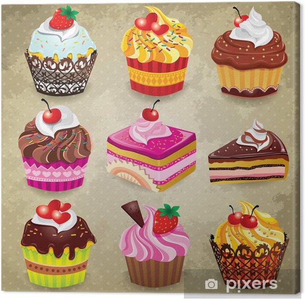 Cuadro en Lienzo Vintage cupcake set - Temas