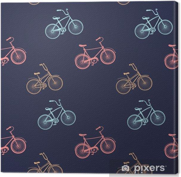 Cuadro en Lienzo Vintage de patrones sin fisuras con bicicletas multicolores - Deportes