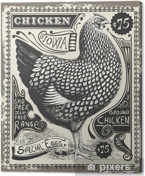 Cuadro en Lienzo Vintage Poultry and Eggs Advertising Page - Ventas