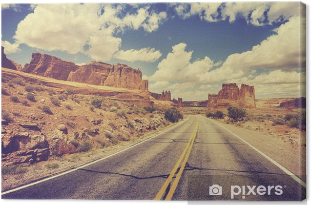 Cuadro en Lienzo Vintage retro estilizado carretera escénica del desierto, EE.UU.. - Viajes