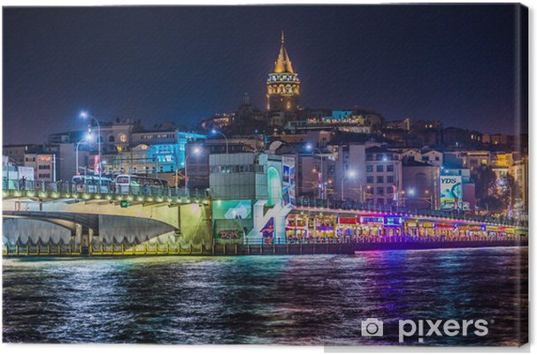 Cuadro en Lienzo Vista de Estambul y la torre de Galata y el puente en la noche - Temas