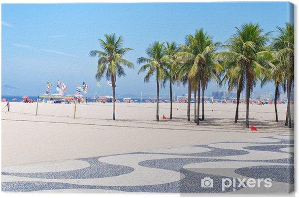 Cuadro en Lienzo Vista de la playa de Copacabana con palmeras y mosaico de acera - Ciudades norteamericanas