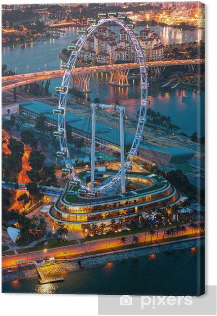Cuadro En Lienzo Vista De Singapur En La Noche Con El Singapore