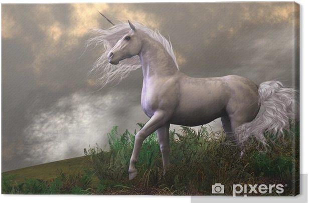 Cuadro en Lienzo White Unicorn Stallion - Temas