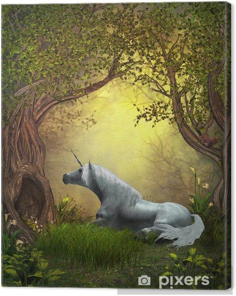 Cuadro en Lienzo Woodland Unicornio - Temas