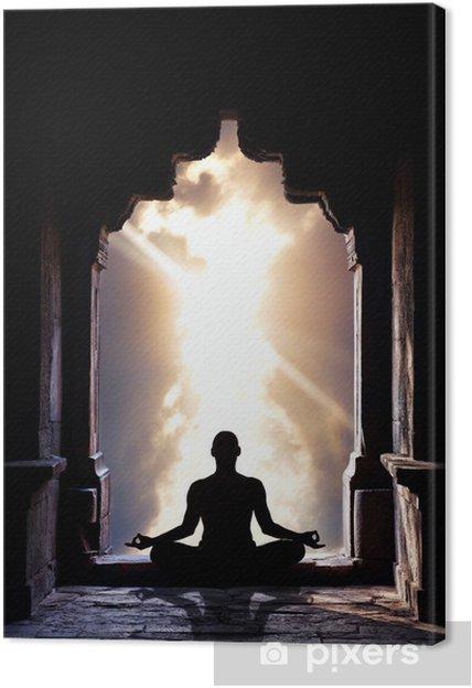 Cuadro en Lienzo Yoga meditación en el templo - Salud
